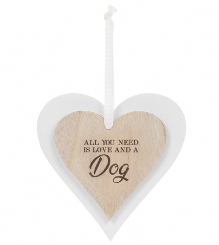 DBL HEART PLAQUE DOG